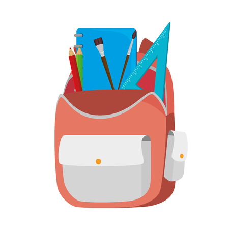 back pack: backpack school stationary ruler pencil brush color  back pack student bag element object vector illustration isolated