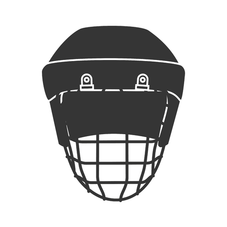 head protection: helmet hockey protection sport safety equipment head vector illustration isolated