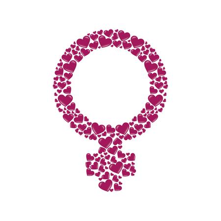 femenine: female gender sign women girl heart love human femenine diversity vector illustration isolated abstract