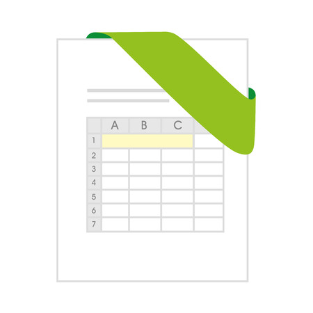 bibliography: xls document file page business computer green  chart vector illustration isolated Illustration