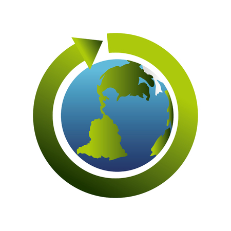 enviroment: planet arrow cycle ecology enviroment world global nature green vector illustration isolated