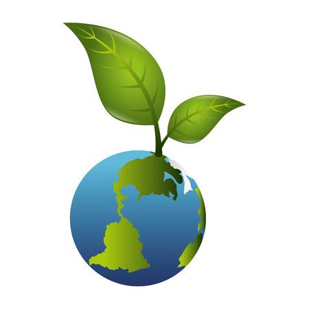 enviroment: planet ecology grow leaves enviroment world global nature green vector illustration isolated