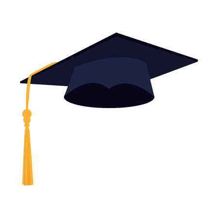 hat graduation achievement over white background vector illustration Illustration