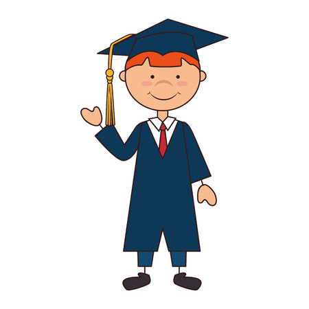 succeeding: man boy hat graduate graduation gown cap school achievement vector illustration isolated