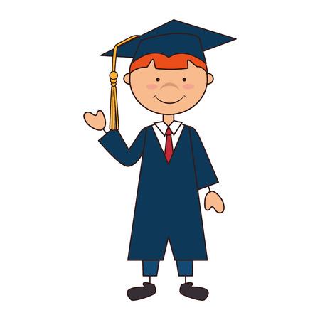 man boy hat graduate graduation gown cap school achievement vector illustration isolated