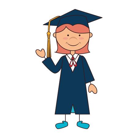 women girl hat graduate school graduation gown cap achievement vector illustration isolated Illustration