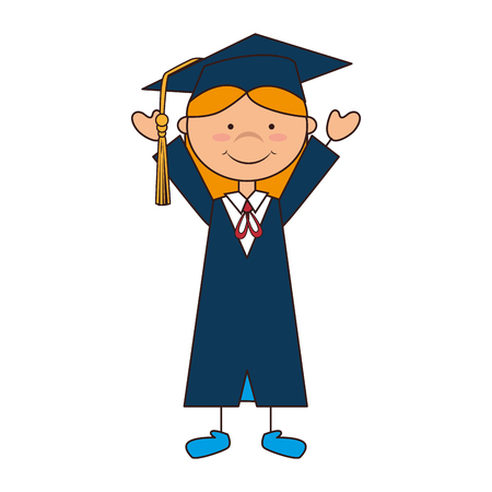 succeeding: women girl hat graduate school graduation gown cap achievement vector illustration isolated Illustration