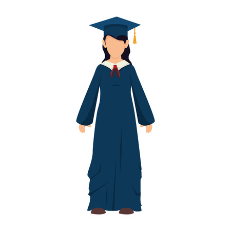 succeeding: women girl hat graduate graduation gown cap achievement vector illustration isolated Illustration