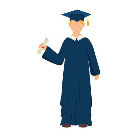 succeeding: man boy hat graduate graduation gown cap achievement vector illustration isolated Illustration