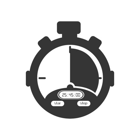 training device: chronometer device time countdown counter button training vector illustration isolated