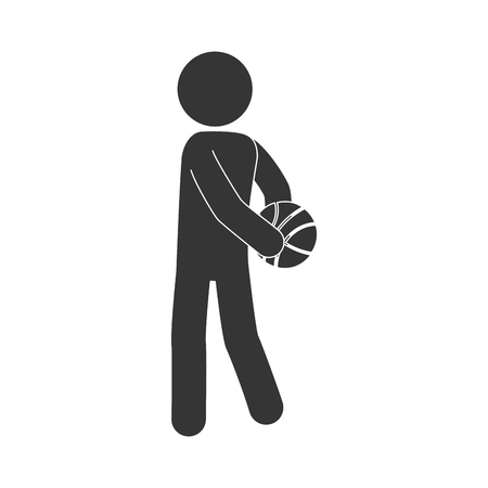 layup: man playing basketball moving pose training exercise sport game vector illustration isolated
