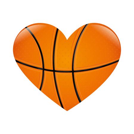 バスケット ボールの心愛の情熱スポーツ ゲーム ボール ベクトル イラスト分離