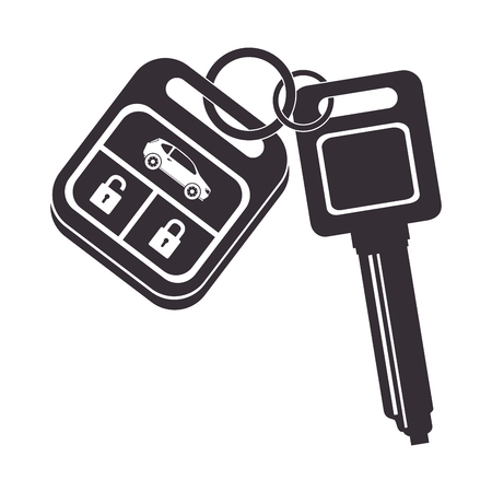 car key security keychain metal auto vehicle control vector illustration isolated