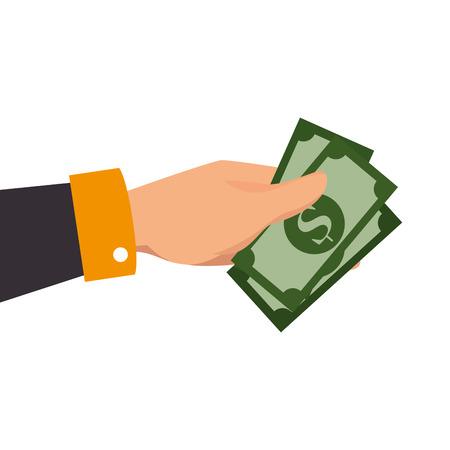 l'argent des factures en espèces à la main donner acheter affaires vecteur salaire illustration isolé