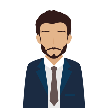 suit tie: man adult suit tie male guy leader beard business work occupation vector illustration isolated