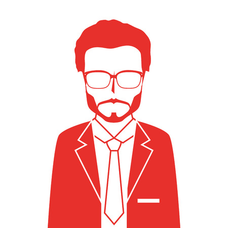 suit tie: man adult suit tie male guy glasses red leader business work occupation vector illustration isolated