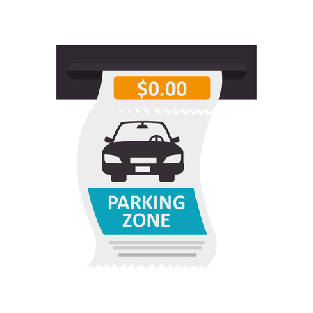 deposit slips: parking ticket auto zone paper pay money push card car vector isolated illustration