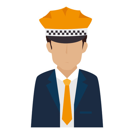 suit tie: man hat suit tie chauffer driver service male guy vector illustration isolated