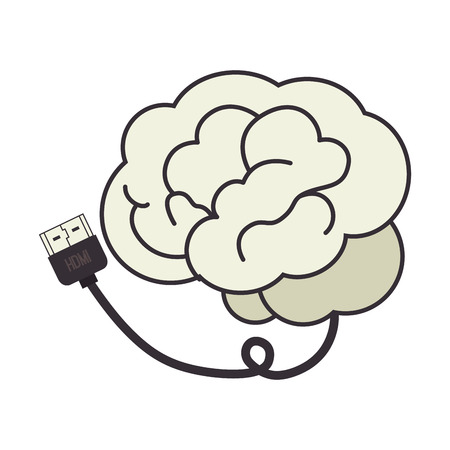brain cable hdmi plug connection data information vector illustration isolated Illustration