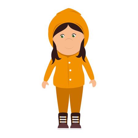 girl sweater raincoat cartoon female smile happy yellow rainy cloudy vector illustration isolated
