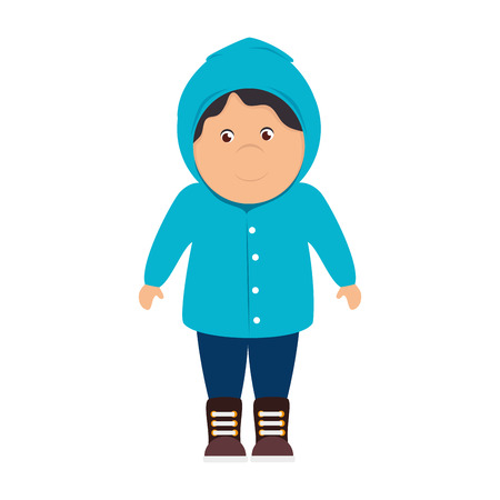 humid: boy sweater raincoat cartoon male smile happy yellow rainy cloudy vector illustration isolated Illustration