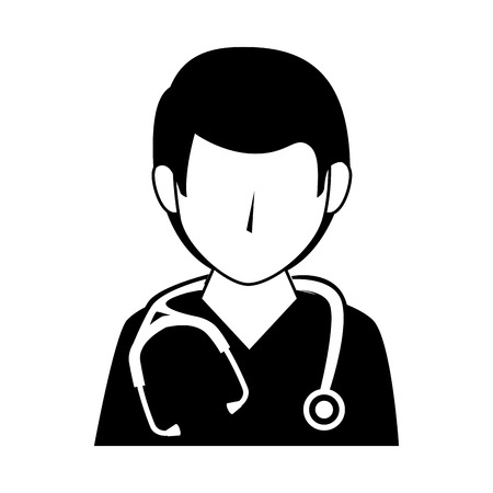 outpatient: medic medical doctor stethoscope occupation work profession uniform vector illustration isolated