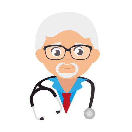 family physician: medic medical doctor stethoscope occupation old man glasses work profession uniform vector illustration isolated