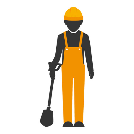 builder construction worker helmet shovel  man vector isolated  illustration