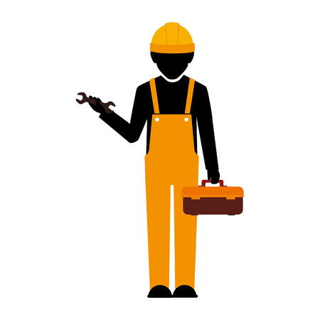 builder construction worker helmet wrench box tools  man vector illustration isolated
