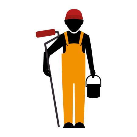 coverall: builder construction worker helmet man paint bucket vector illustration isolated