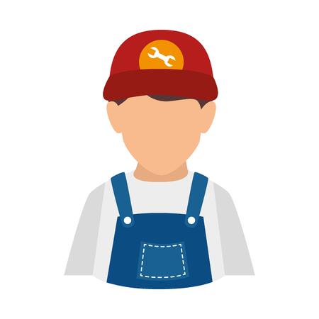 mechanic man: mechanic man repairman auto fix tool overall male vector illustration isolated