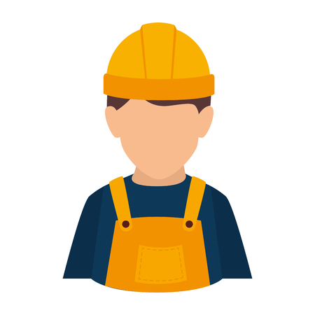 coverall: builder construction worker helmet man overall male guy vector illustration isolated