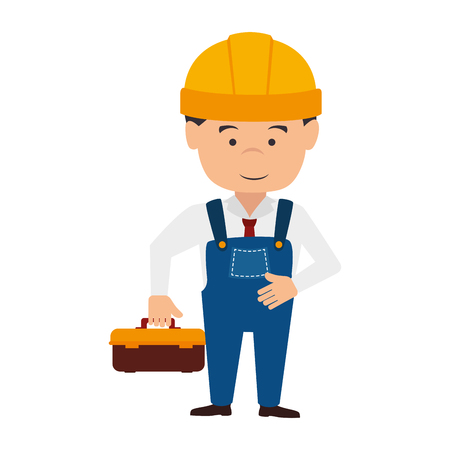 labourer: builder construction worker helmet smile box tools enginner man vector  isolated and flat illustration