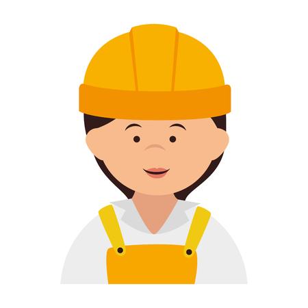 coverall: builder construction worker helmet women vector isolated illustration