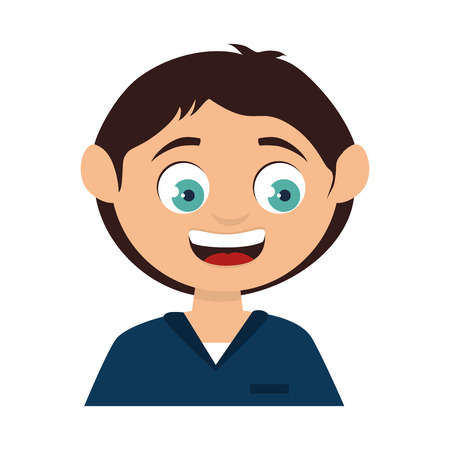 teeths: boy face smiling smile male kid child cartoon vector illustration isolated Illustration