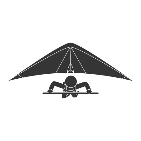 hang gliding: gliding sport extreme adventure athletic kite hang sky vector illustration isolated