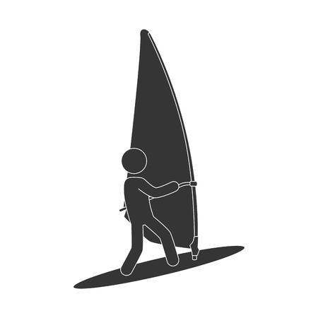 adrenalin: kitesurf sport extreme adrenalin man board kite vector illustration isolated