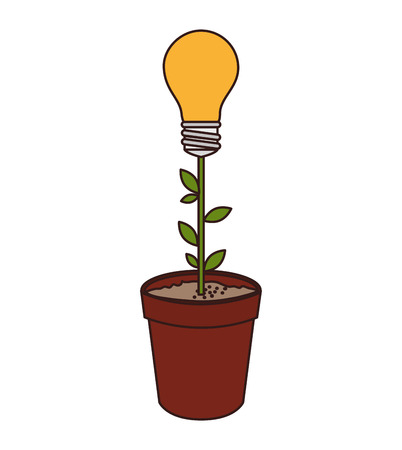 plant growing: bulb energy plant growing natural ecology idea light vector illustration isolated