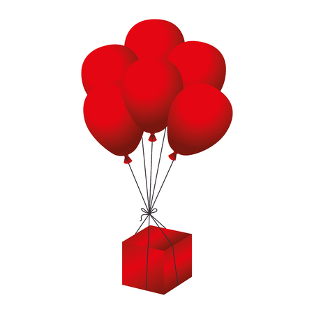 box balloon celebration gif red present event vector illustration isolated