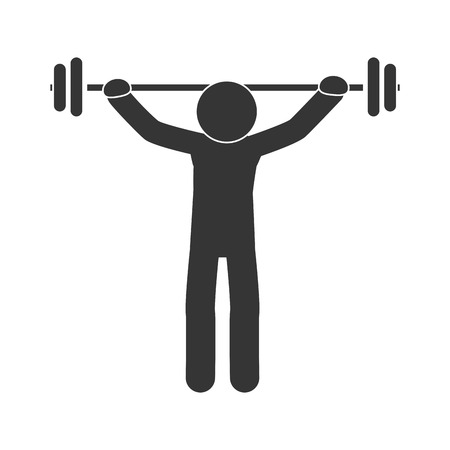 weightlifting equipment: man dumbbell equipment exercise gym heavy muscle weight weightlifting vector illustration isolated