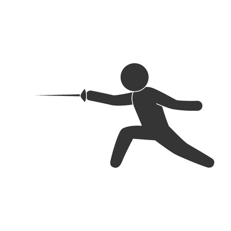 discipline: fencing sport exercise move hobby discipline man male vector illustration isolated Illustration