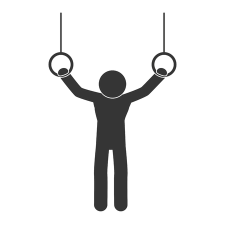 recreation: gymnastic man sport training rings move recreation vector illustration isolated Illustration