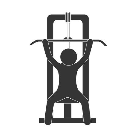 gymnasium: man gym equipment weight training sport fitness machine vector illustration isolated