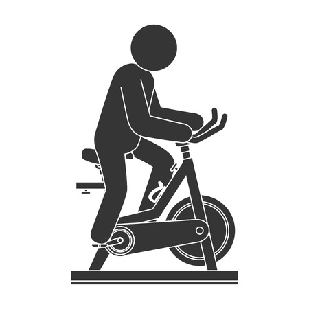 static bike: bike gym exercise training man male ride sport vector illustration isolated