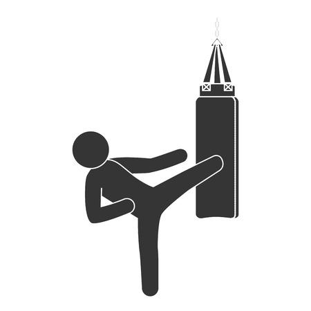 knockout: punching sack boxing training fighting hit knockout vector illustration isolated Illustration
