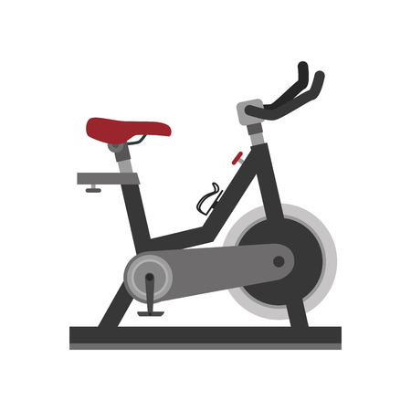 weight machine: bike gym equipment training fitness static exercise vector illustration isolated Illustration