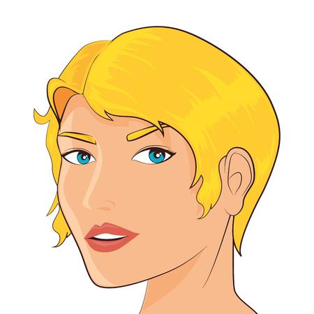 femenine: women pop art female face beauty femenine vintage vector illustration isolated