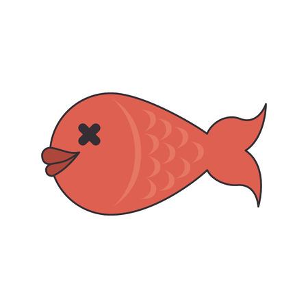 seafood dinner: fish dish food seafood dinner fresh eat vector illustration isolated Illustration