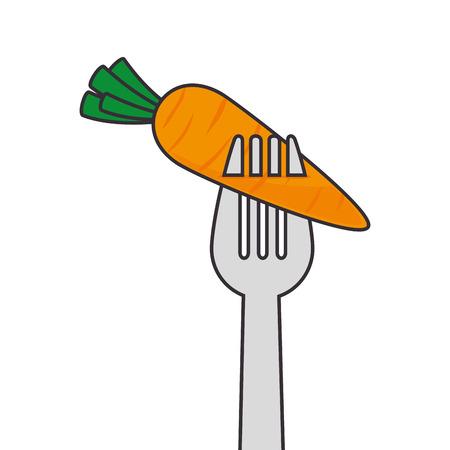 carrot vegetable eat dinner food agriculture farm orange vector illustration isolated Illustration
