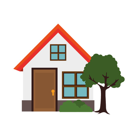 house modern residential tree real home building exterior residence vector illustration isolated
